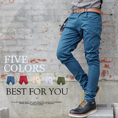 ∥柒零年代∥Man Season【N7963J】韓版經典純色簡約時尚造型皮革裝飾窄版休閒長褲(SH8061)