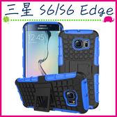 三星 Galaxy S6 S6Edge Plus 輪胎紋手背蓋 全包邊手機套 矽膠保護殼 帶支架保護套 PC+TPU手機殼