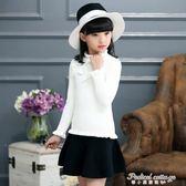 女童毛衣套頭秋冬寶寶荷葉邊領打底衫韓版中大童兒童針織衫女線衣