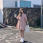 夏裝韓版度假風露背蝴蝶結短袖連身裙寬鬆顯瘦娃娃裙女學生裙子