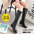機車靴-復古皮帶扣低跟長靴(36-42加大碼)【XDUSKA7273】  俐落感時尚搭配