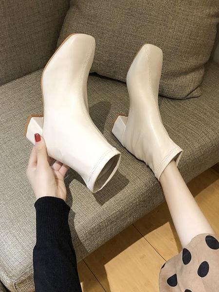 新款ins百搭粗跟切爾西馬丁靴英倫風瘦瘦鞋潮 淇朵市集