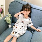 兒童夏裝女童寶寶連身睡衣夏季薄款男寶寶嬰兒純棉空調防肚涼睡衣 芭蕾朵朵