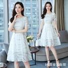 蕾絲連身裙女2020夏裝新款短袖洋裝氣質顯瘦中大碼女中長款大擺裙子 LR20531『3C環球數位館』