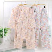 日式碎花全棉和服女睡衣夏季純棉短袖長褲套裝孕產婦哺乳服 居享優品