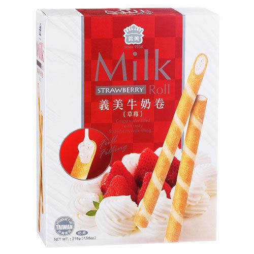 義美鮮乳卷-草莓口味215g【愛買】