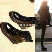 馬丁靴  女學生韓版百搭黑色皮靴厚底短靴鞋子單靴 『歐韓流行館』