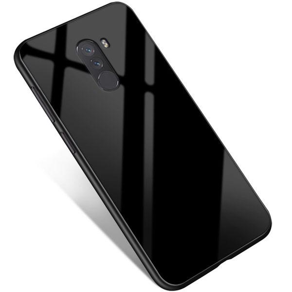 素面鋼化玻璃殼 小米 Pocophone F1 手機殼 純色 玻璃背板 矽膠軟邊 全包邊 防摔 保護殼