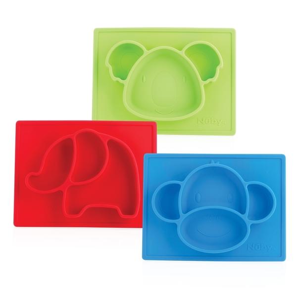Nuby 動物矽膠餐盤(款式任選)
