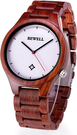 Bewell【日本代購】復古懷舊木錶 男士木製輕質手錶 日本製造石英-赤檀
