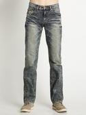 BOBSON 男款刷白立體壓褶直筒褲(1748-52)
