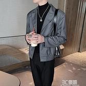 西裝外套 灰色復古短款小西裝外套男韓版潮流秋季新款寬鬆休閒痞帥夾克上衣 3C優購