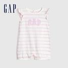 Gap 嬰兒 Logo棉質條紋圓領包屁衣 583682-光感亮白
