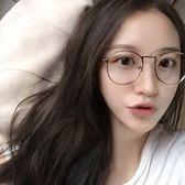 現貨-韓國ulzzang原宿超輕眼鏡經典復古金屬大框眼鏡框文藝原宿圓形框架眼鏡潮流平光鏡金屬細邊
