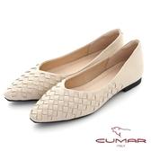【CUMAR】皮革編織小方頭平底鞋(米色)