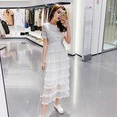女裝2019流行裙子春秋很仙的法國小眾連身裙白色小禮服過 伊蒂斯女装