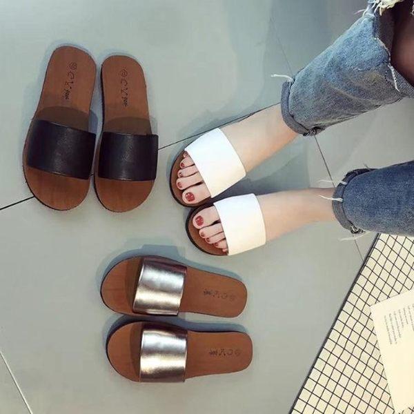 拖鞋女外穿 平底新款韓版百搭涼拖女一字拖女室外沙灘鞋女
