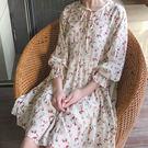(全館一件免運費)DE SHOP~(XA-5850)小清新碎花繫帶短袖雪紡連衣裙顯瘦修身長裙