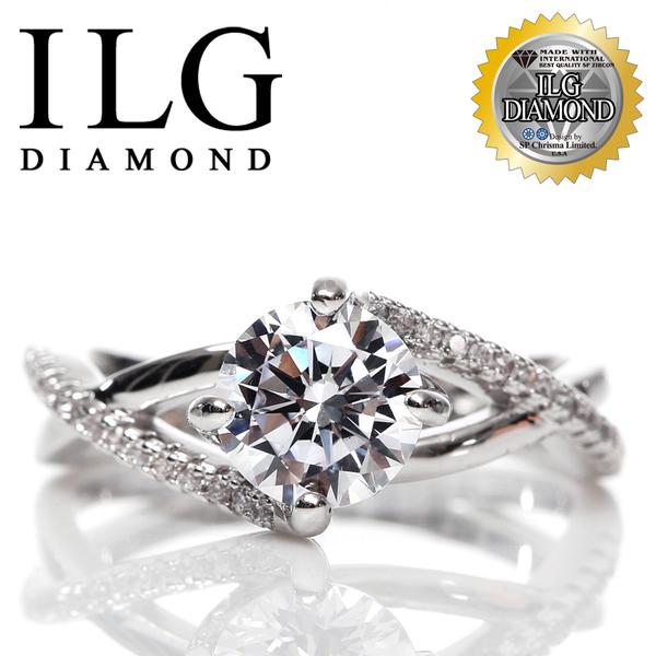 【頂級美國ILG鑽飾】八心八箭戒指-1.25克拉 Kissing love款 RI127 交織的特殊鑲鑽設計
