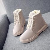 秋冬季加絨加厚雪地靴棉鞋短靴女鞋低跟學生短筒系帶馬丁靴女靴子BK44【潘小丫女鞋】