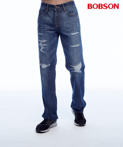 BOBSON   男款低腰刷破補釘直筒褲(1818-53)
