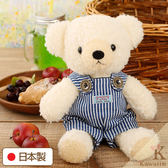 Hamee 日本製 手工 藍色條紋 吊帶褲 絨毛娃娃 玩偶禮物 泰迪熊 (奶油色/M) 640-198501