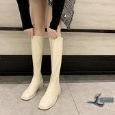 長靴女簡約時尚方頭馬丁靴騎士靴【邻家小鎮】