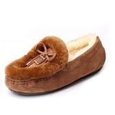 豆豆鞋 羊毛絨平底-透氣加絨磨砂真皮女休閒鞋3色72o4【巴黎精品】