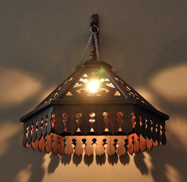 [協貿國際]木製雕刻鏤空吊燈單個價