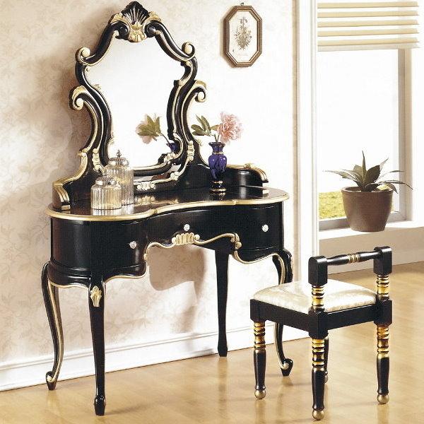 化妝台 SB-509-5 帝國法式黑金色化粧台(含椅)【大眾家居舘】