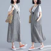 棉麻 V領小格子印花背心洋裝-大尺碼 獨具衣格