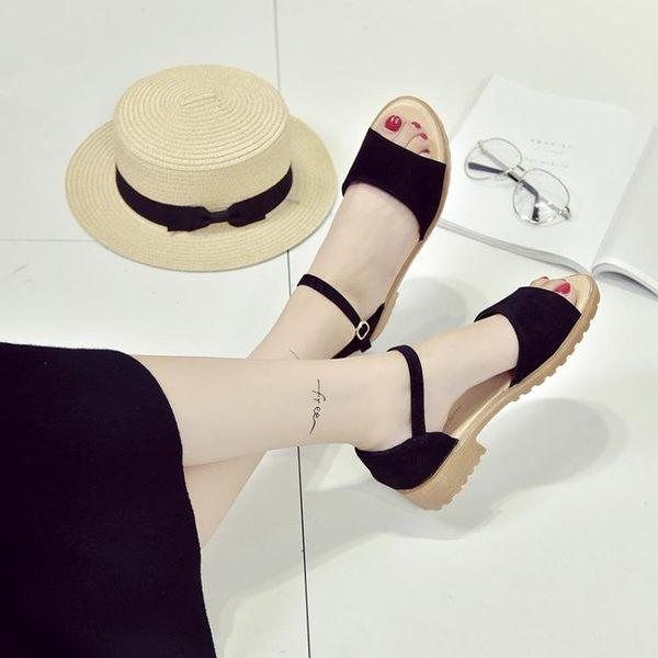 新款羅馬粗跟平底涼鞋女學生露趾中跟魚嘴韓版百搭時尚潮  蓓娜衣都