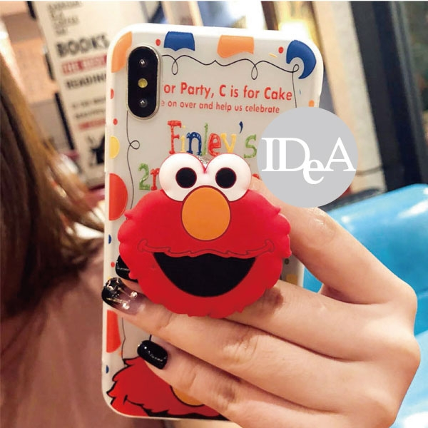 芝麻街 iPhone7/7 Plus  iPhone6/6 Plus X 氣囊支架TPU手機保護殼 全機包覆 Sesame Street Elmo