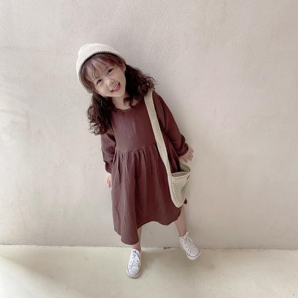 大地森林系雙層棉紗長袖洋裝連身裙 連衣裙 長袖洋裝 女童 連身裙 洋裝 橘魔法 現貨 童裝