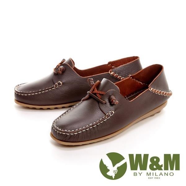 【南紡購物中心】W&M 可水洗懶人踩腳豆豆鞋 女鞋-深咖(另有米白)