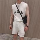 夏季日常舒適休短袖短褲背心套裝男運動倆件套韓版寬鬆無袖t恤 快速出貨