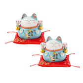 (組)六福臨門4.5吋招財貓-藍 2入