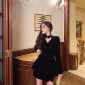 黑色小禮服裙女平時可穿短款秋冬宴會氣質洋裝生日派對連衣裙