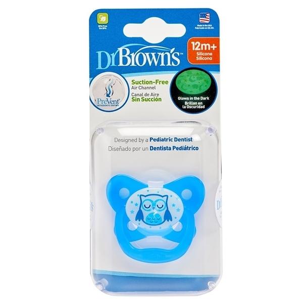 美國Dr Brown 布朗博士PreVent功能性夜光安撫奶嘴 藍2入12個月+(附收納盒)