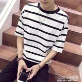 短袖t恤男夏季條紋五分袖潮牌寬鬆七分袖中袖體恤男生百搭上衣ins 1995生活雜貨