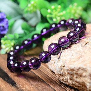 深紫色紫水晶手鏈 圓珠 男女款飾品
