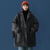 風衣女 風衣女中長款冬季外套小個子今年流行2021年新款百搭加厚毛呢大衣【快速出貨八折鉅惠】