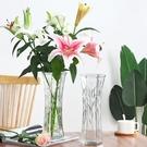玻璃花瓶 創意大號透明六角玻璃花瓶水養富貴竹百合鮮花插花瓶家用客廳擺件【兩個裝】