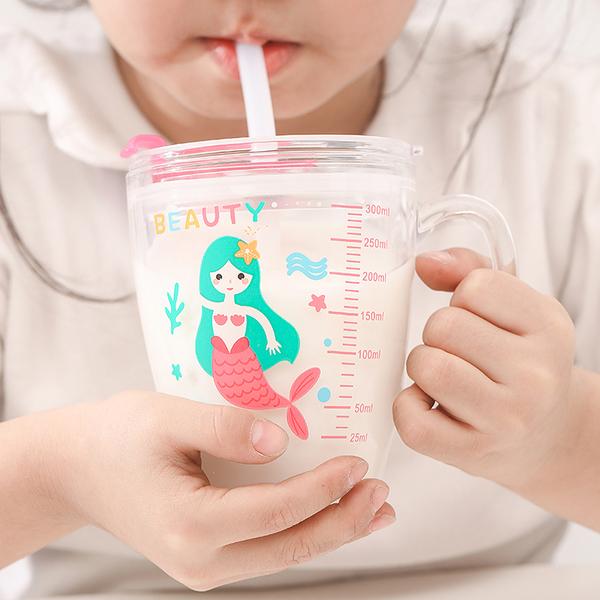 卡通兒童手把刻度玻璃杯 ZB-1【300ml】