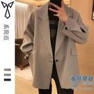 西裝外套 新款西裝外套男春秋高級感炸街設計感廓形oversize西服【快速出貨】
