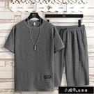 套裝/單件夏季冰絲特大碼男裝休閒運動套裝短袖t桖男兩件套【【全館免運】