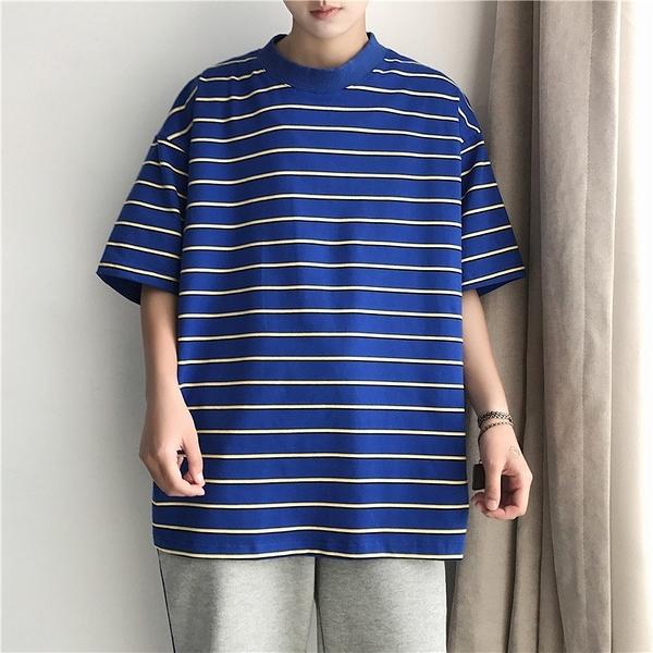FINDSENSE H1 2018 夏季 文藝 短袖 T恤 男 寬松 條紋 T恤
