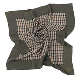 DAKS經典格紋絹質絲巾/領巾(軍綠色)989129-2