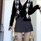 毛衣外套 JMSHOP 返校學姐 不規則毛衣外套秋冬v領短款加州菱格針織開衫 風馳