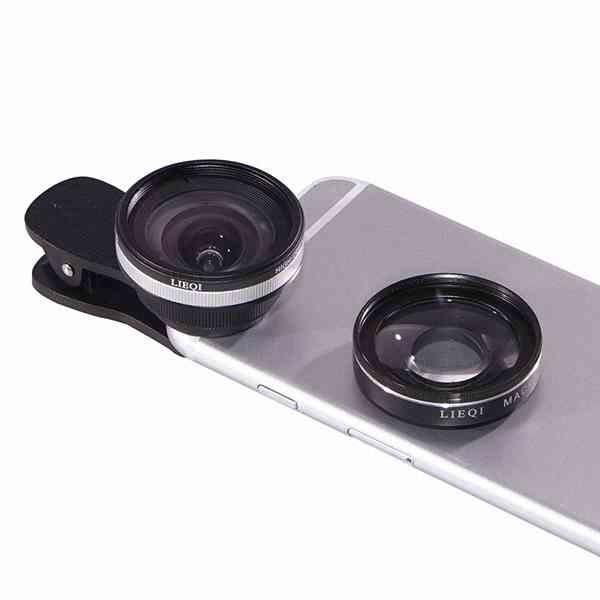 LIEQI LQ-033 無變形 0.6X 廣角 15X 微距 夾式 手機鏡頭 自拍神器 iPhone XR XS i8 R15 A8 Find X 『無名』 K08129